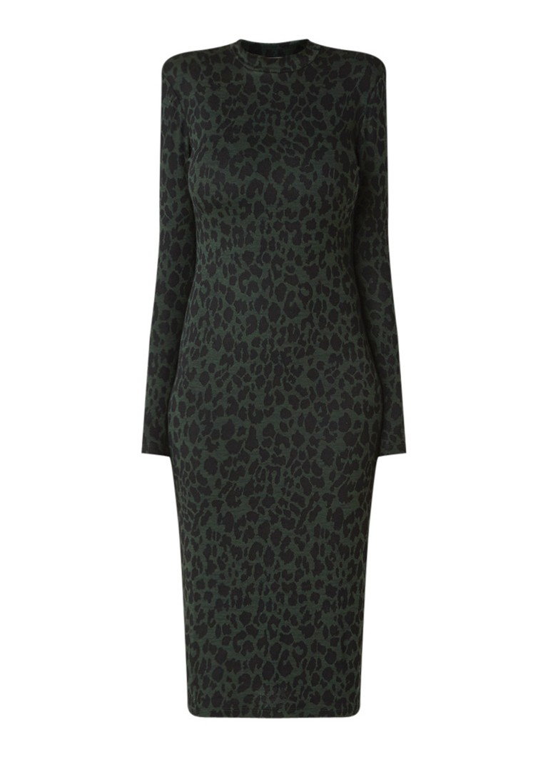 Whistles Trui-jurk van jersey met luipaarddessin donkergroen