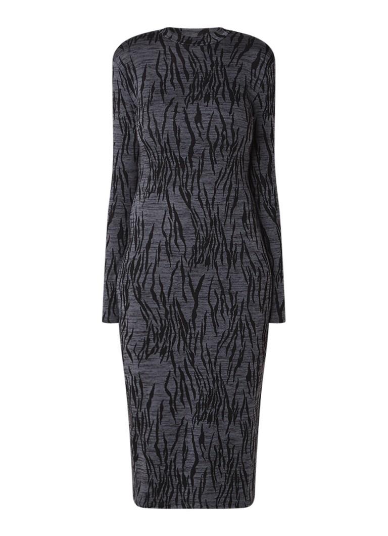 Whistles Trui-jurk van jersey met zebradessin grijs