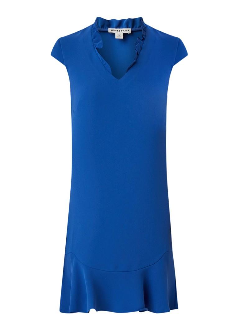 Whistles Federica midi-jurk van crêpe met volant kobaltblauw