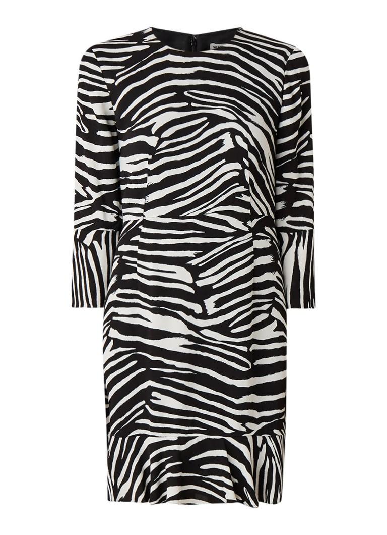 Whistles Flippy jurk met zebradessin en driekwart mouw zwart