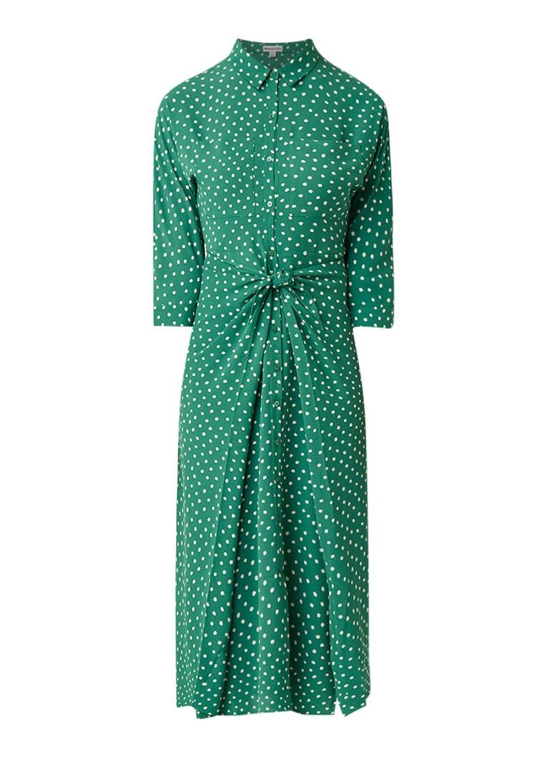 Whistles Selma blousejurk met stippendessin groen