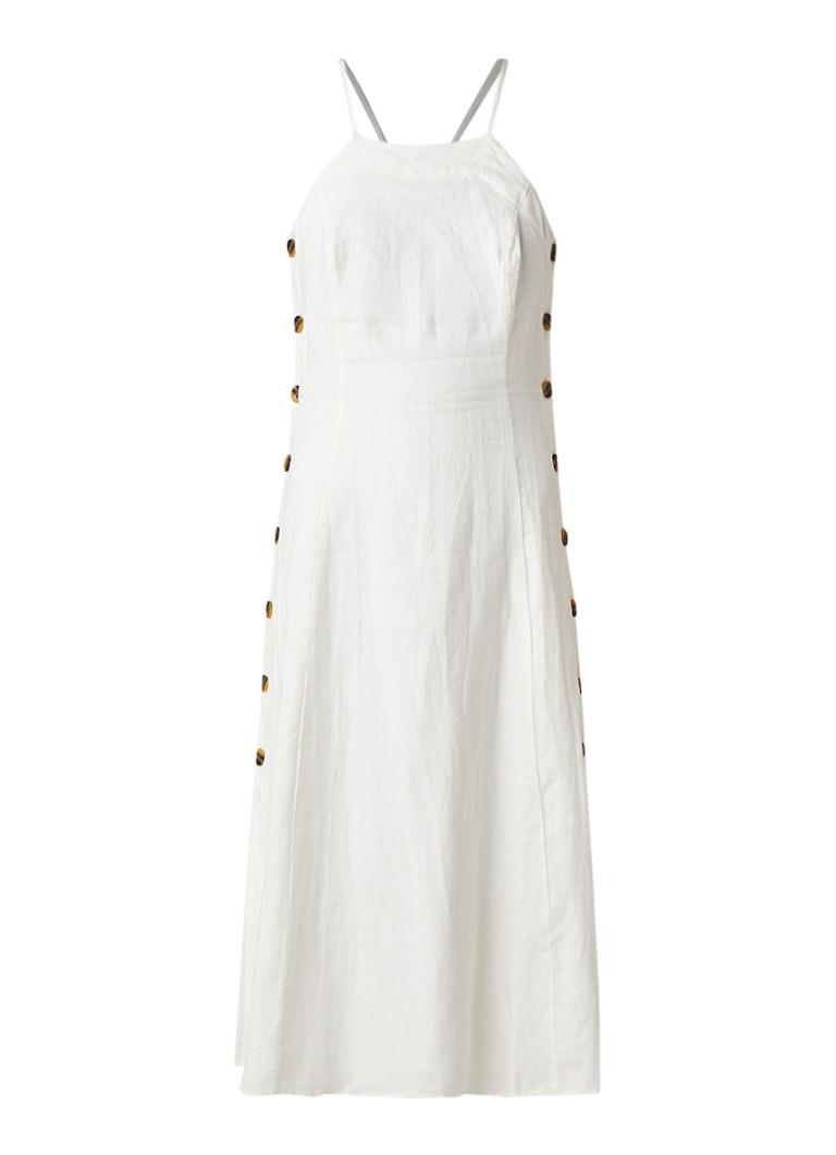 Whistles Nina maxi-jurk van linnen met knoopsluiting gebroken wit