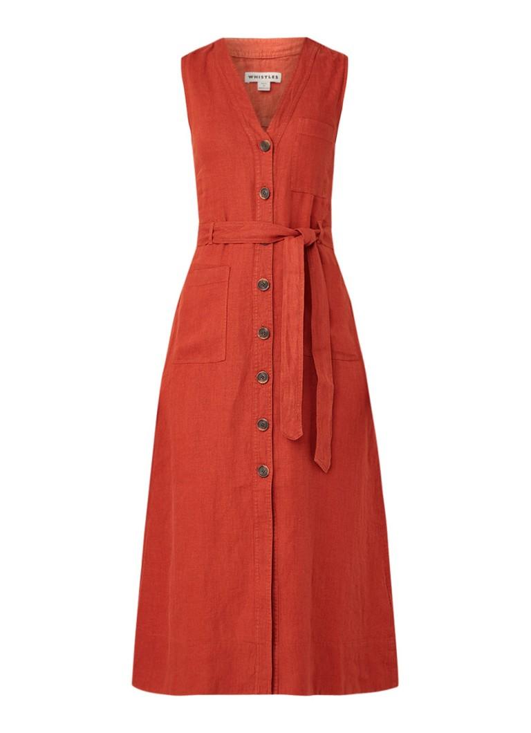 Whistles Midi-jurk van linnen met strikceintuur roestbruin