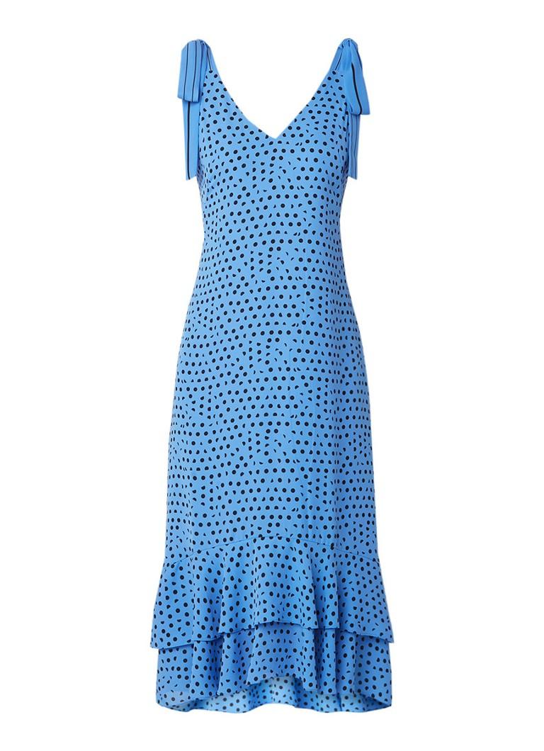 Whistles Midi-jurk met stippendessin en strikdetail blauw