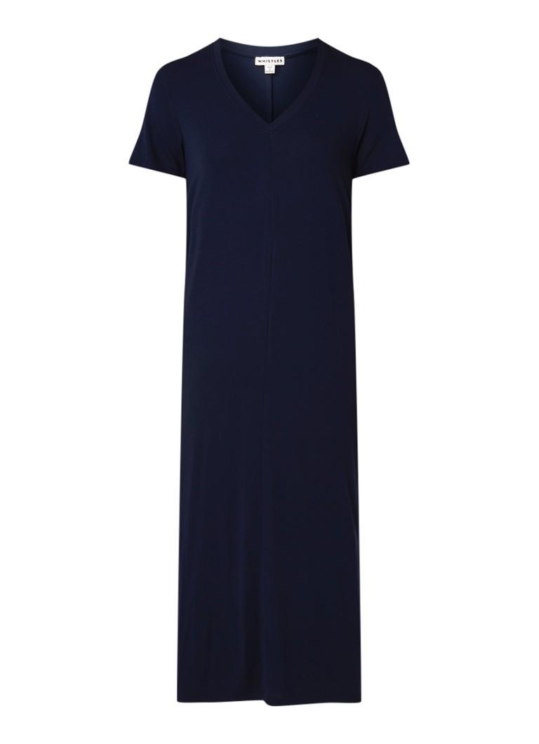 Whistles Maxi-jurk van jersey met V-hals donkerblauw