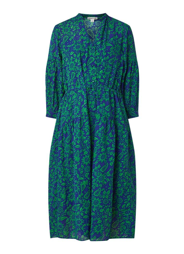 Whistles Midi-jurk met bloemendessin middenblauw