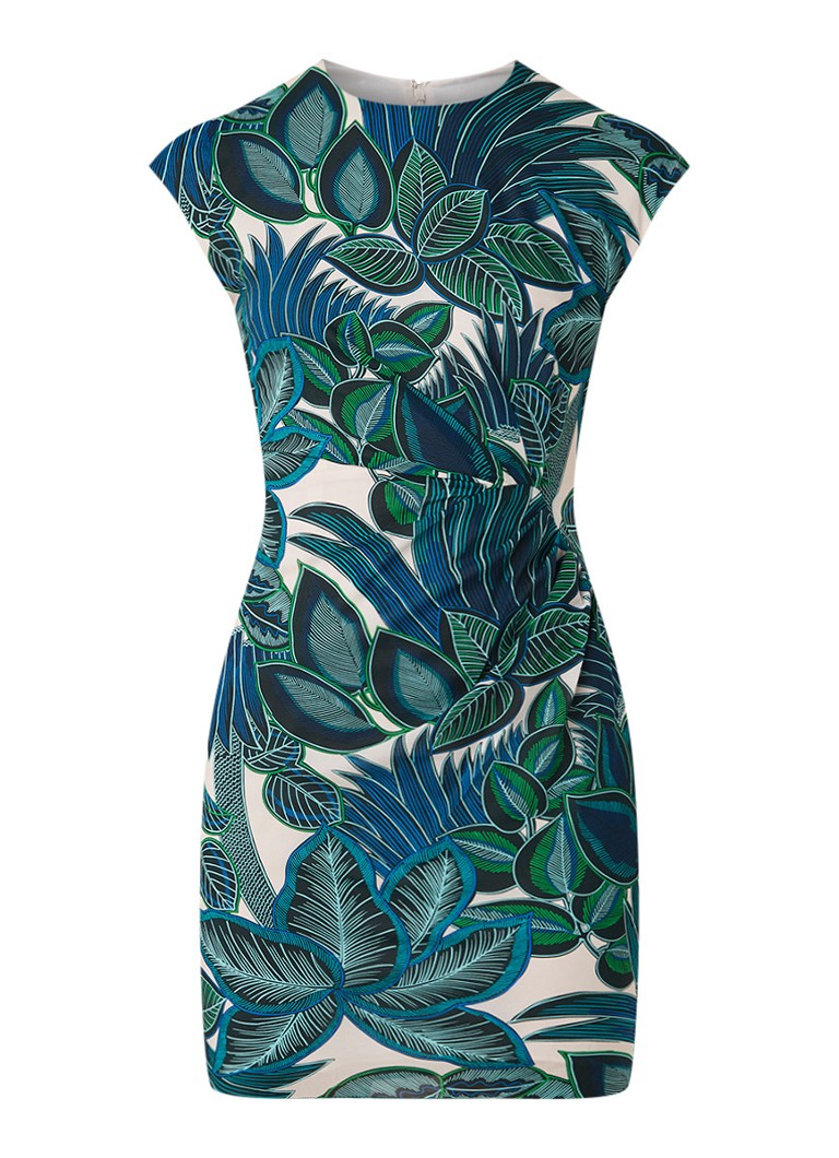 Whistles Mini-jurk in zijdeblend met dessin donkergroen
