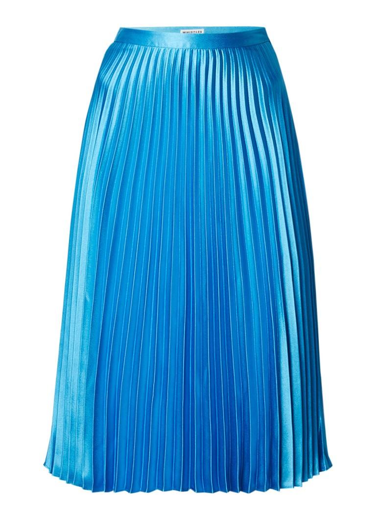 Whistles Midi-rok van satijn met plissé turquoise