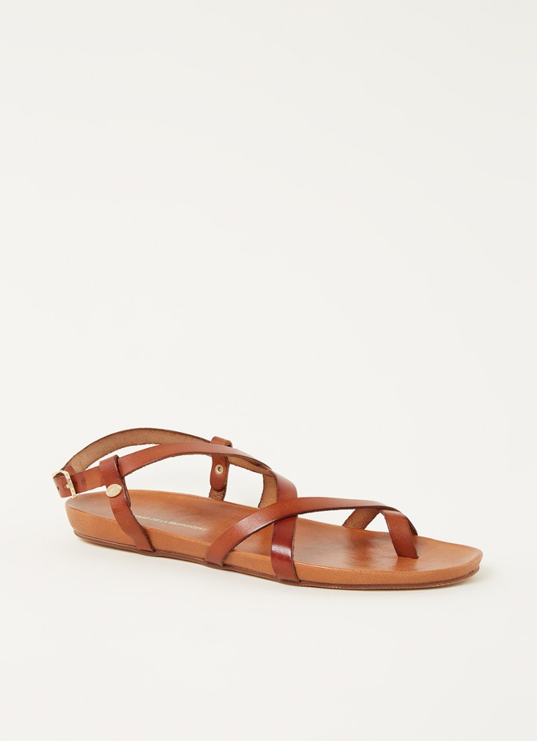 Sandalen Sandal With Covered Footbed Nat Dyed Smooth Leather Bruin online kopen