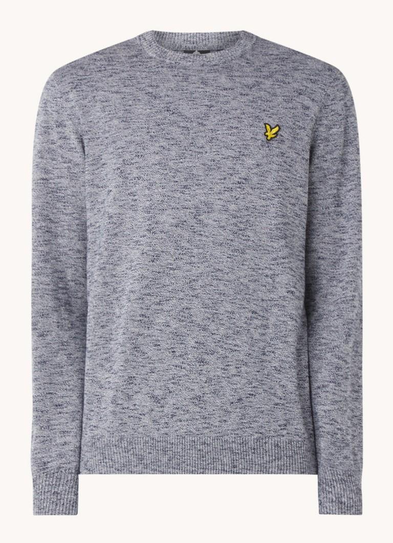 Fijngebreide pullover in mêlée met logo