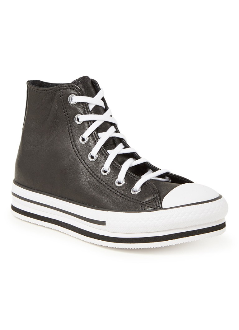 Converse Chuck Taylor All Star Platform EVA Hi leren sneakers met plateauzool zwart/wit online kopen