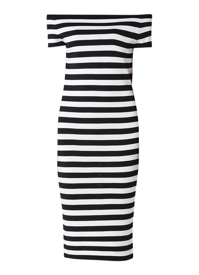 Nikkie Jolie Off Shoulder jurk met korte mouwen zwart