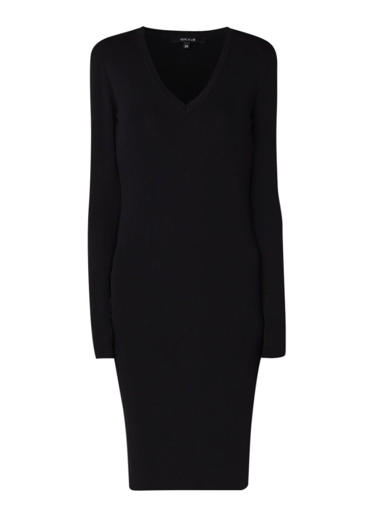 NIKKIE Jolie kokerjurk van jersey met lage V-hals zwart