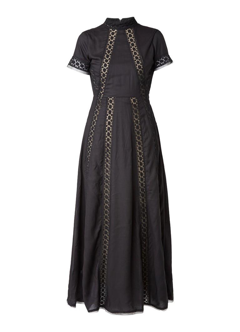 Nikkie Ruki maxi-jurk met open rug en kanten details zwart