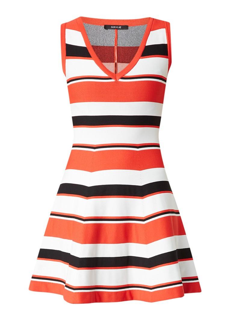 Nikkie Ventura mouwloze A-lijn jurk met streepdessin rood
