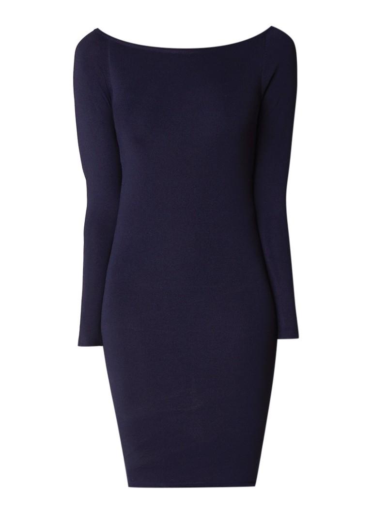 Nikkie Jolie off shoulder jurk met lange mouwen donkerblauw