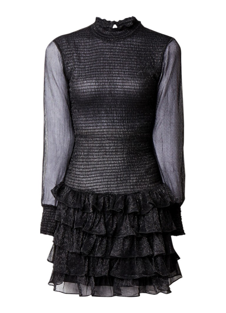 NIKKIE Reaghan semi-transparante midi-jurk met ruches zwart