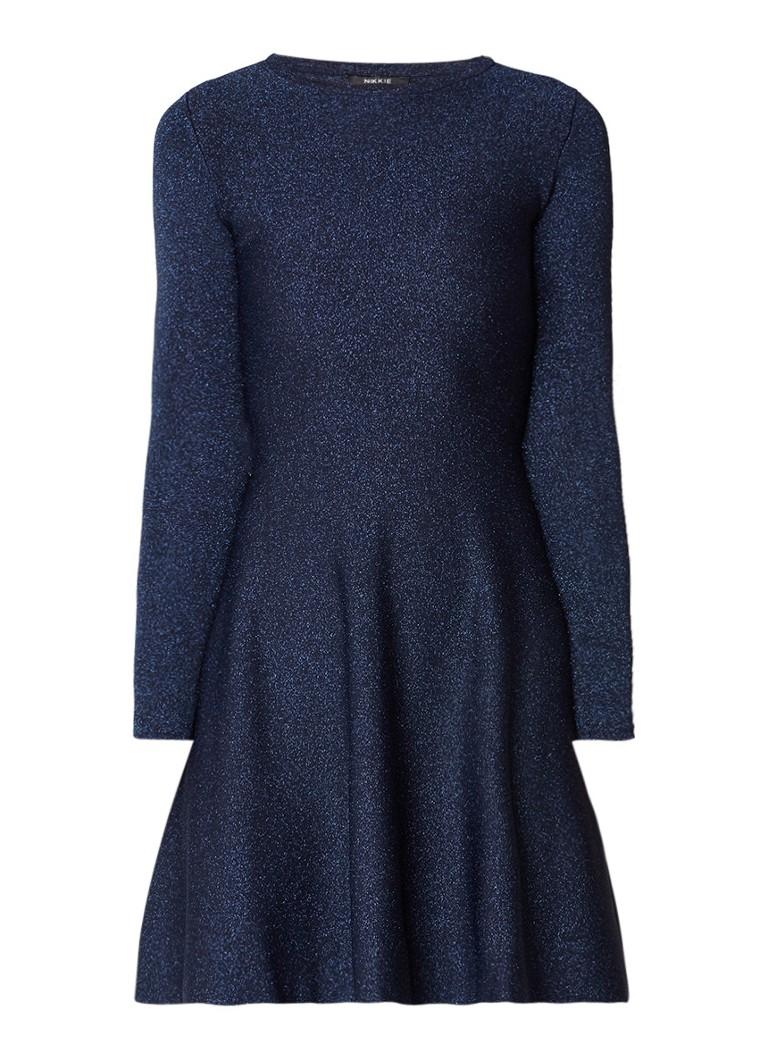 NIKKIE Jintha A-lijn jurk van jersey met lurex donkerblauw