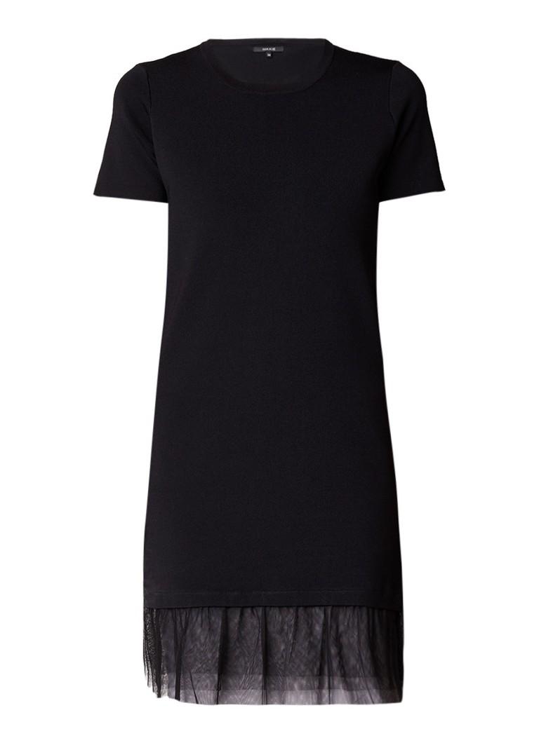 NIKKIE Jora jurk van jersey met zoom van tule zwart