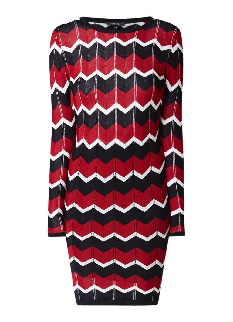 NIKKIE Jojo fijngebreide midi-jurk met onderrok grijs