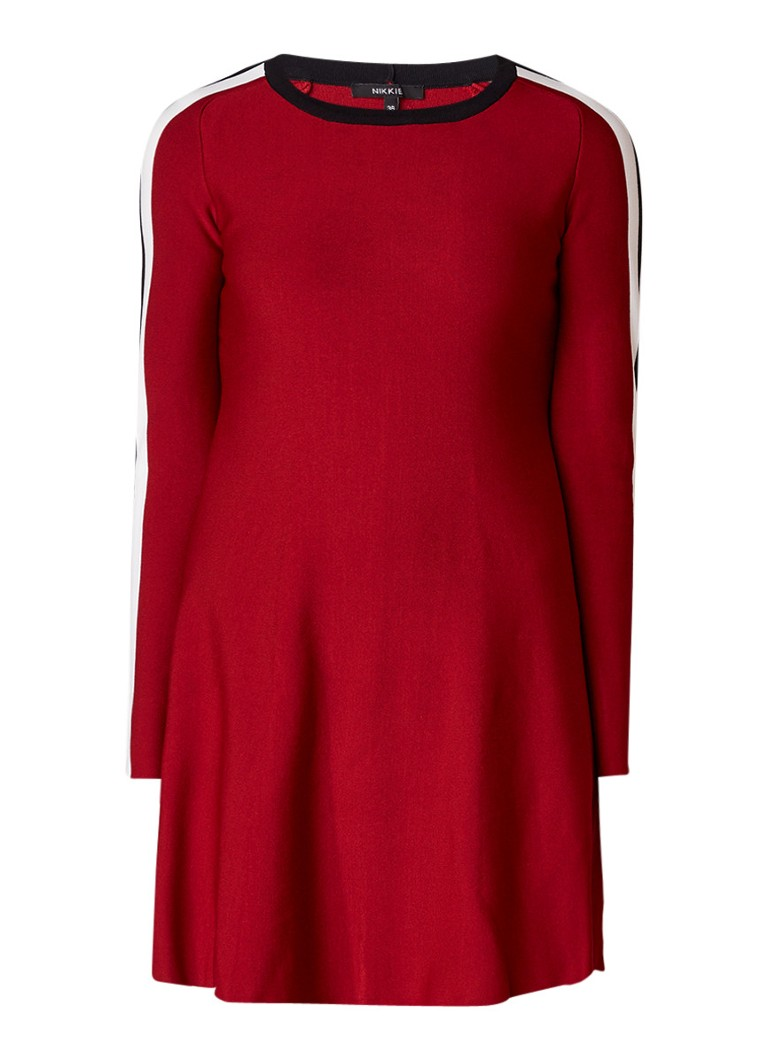 NIKKIE Retro Jintha A-lijn jurk met contrasterende bies rood