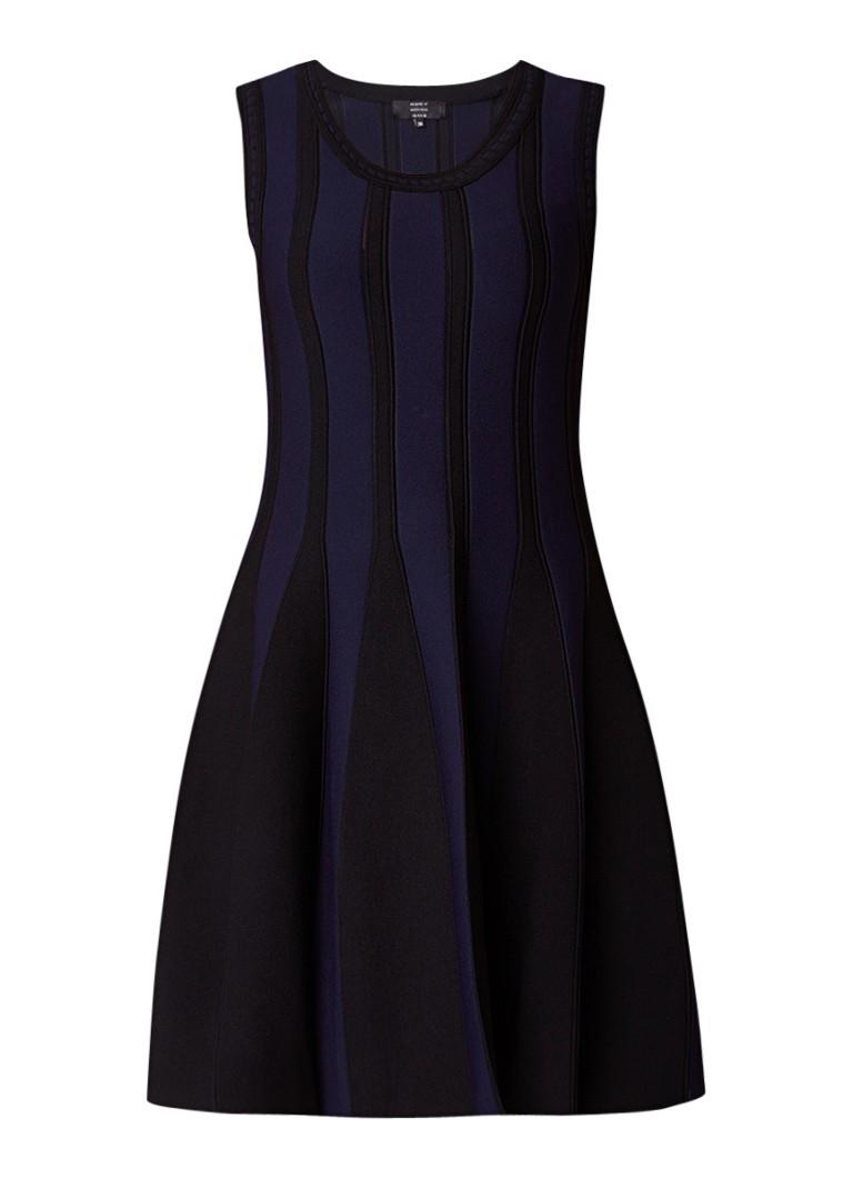 NIKKIE Juno A-lijn jurk met ingebreid streepdessin bordeauxrood