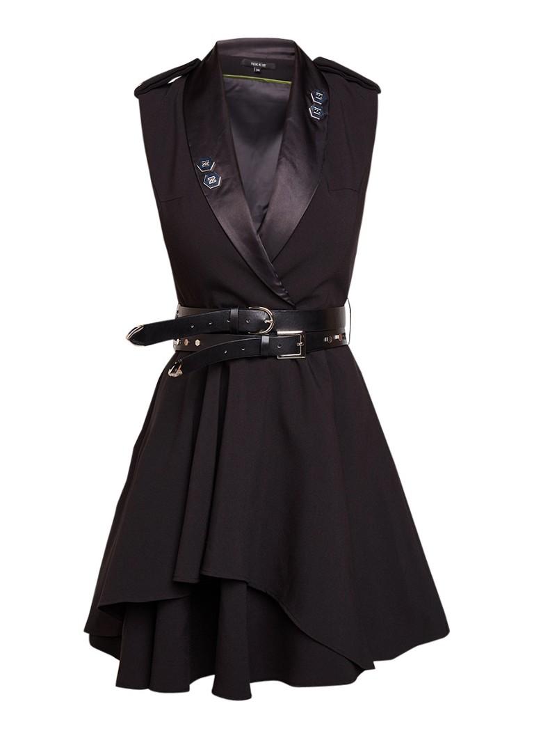 NIKKIE Lava mini-jurk met studs en dubbele ceintuur legergroen