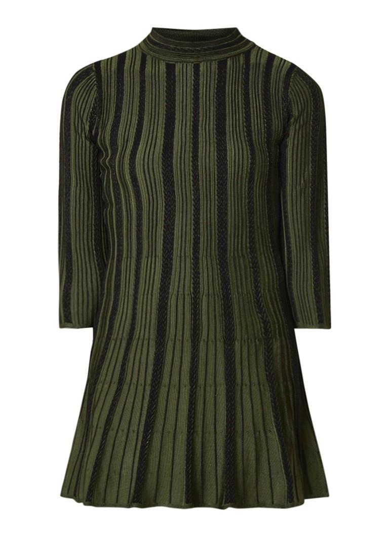 NIKKIE Jaizy ribgeberide A-lijn jurk met gevlochten details legergroen