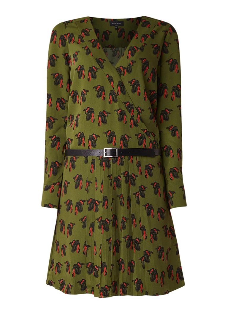 NIKKIE River A-lijn jurk met plooien en ceintuur legergroen