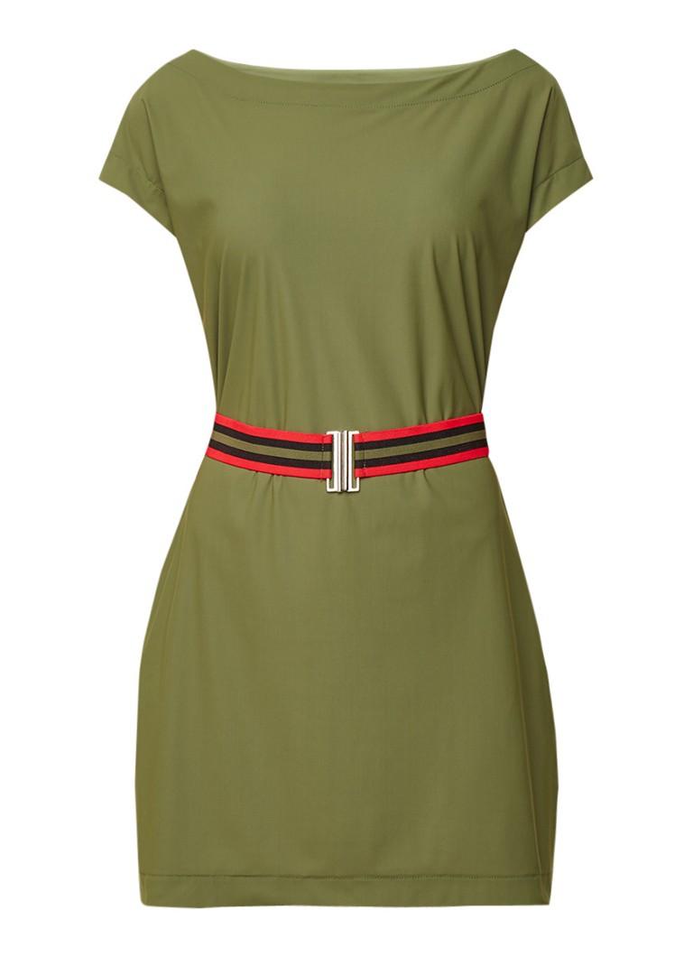 NIKKIE Suzy mini-jurk met boothals en ceintuur legergroen