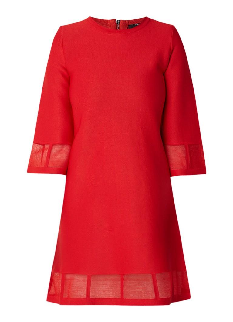 NIKKIE Katy A-lijn jurk met opengewerkte bies rood