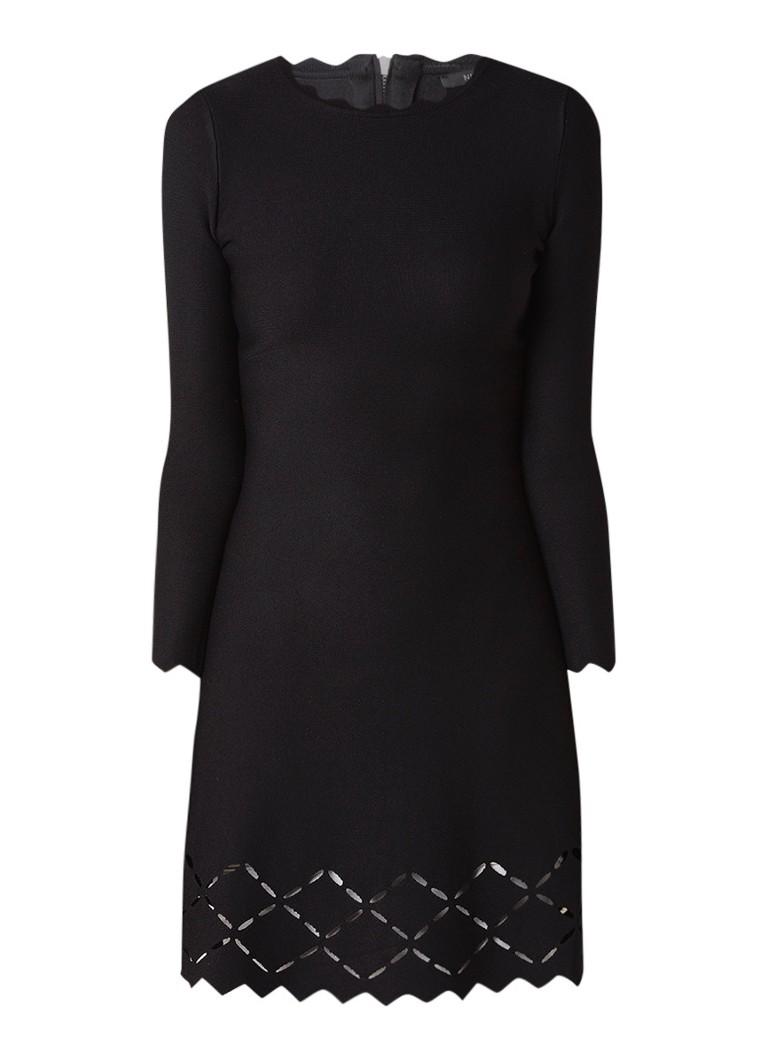 NIKKIE Joni A-lijnj jurk met opengewerkte details zwart