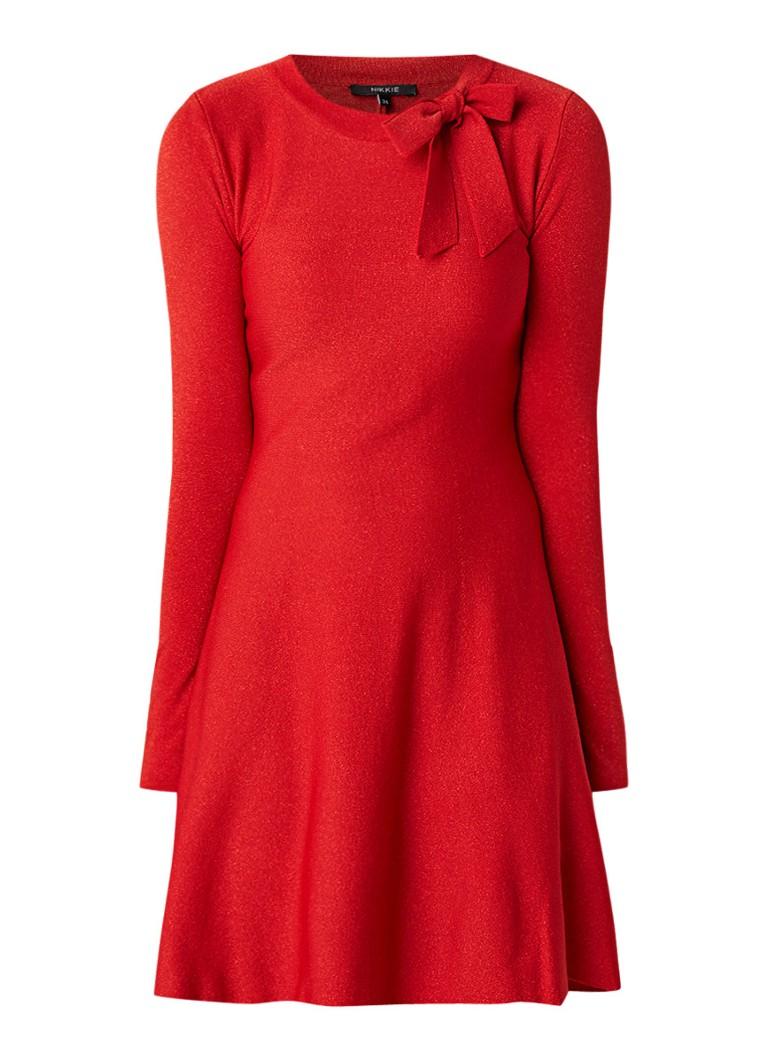 NIKKIE Jolien A-lijn midi-jurk met strikdetail en lurex rood