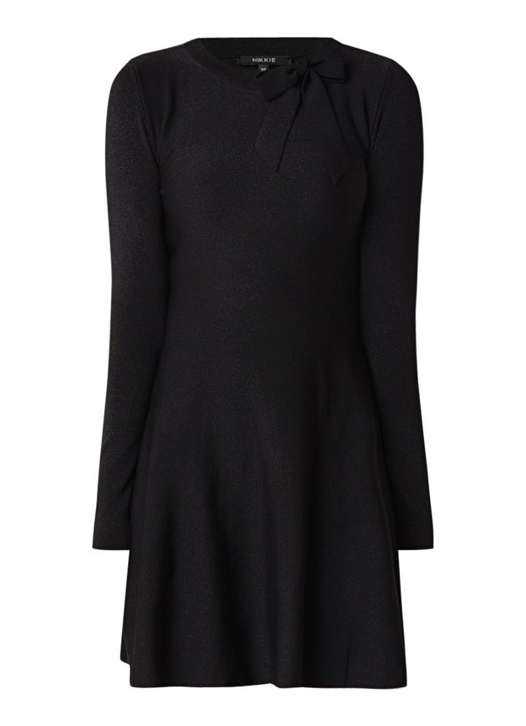 NIKKIE Jolien A-lijn midi-jurk met strikdetail en lurex zwart