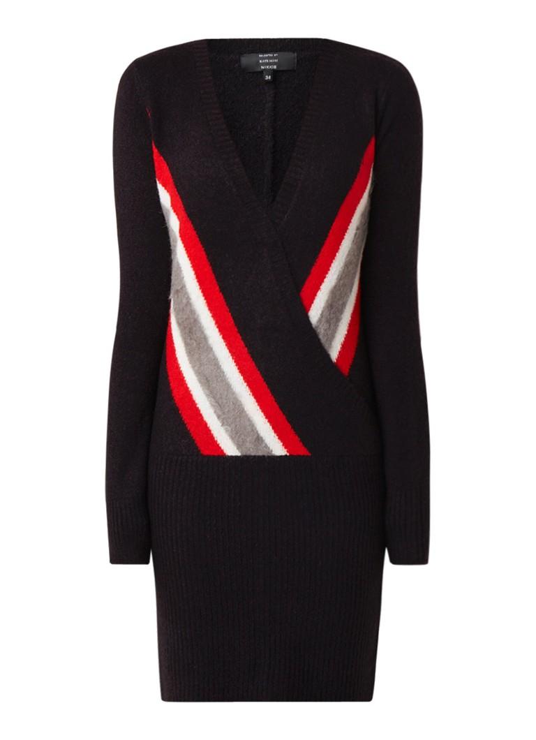 NIKKIE Kerry fijngebreide midi-jurk in wolblend zwart