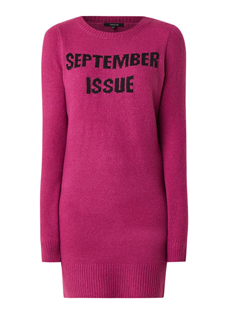 NIKKIE September Issue gebreide jurk fuchsia