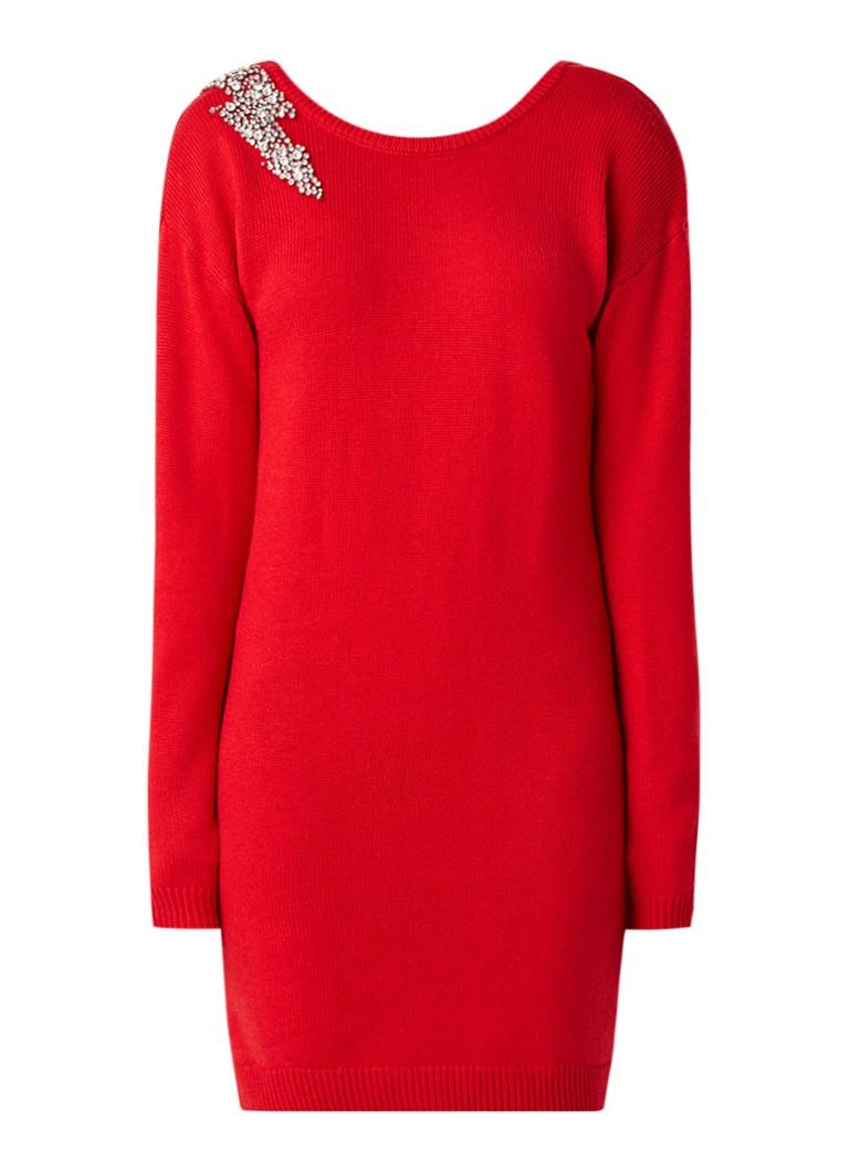 NIKKIE Kayla fijngebreide midi-jurk in wolblend met strass details rood