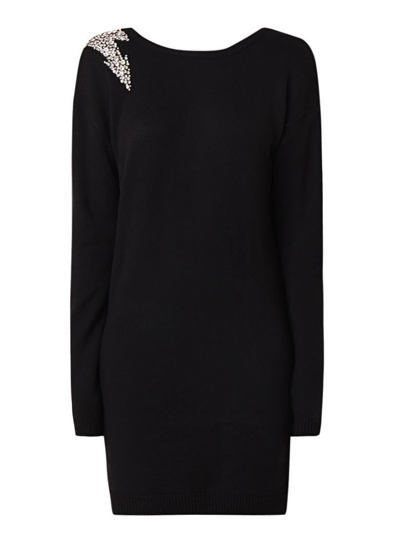 NIKKIE Kayla fijngebreide midi-jurk in wolblend met strass details zwart