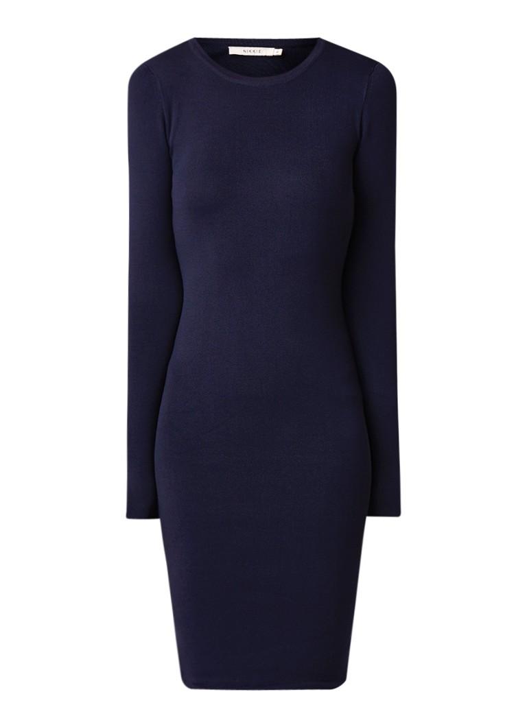 NIKKIE Jolie fijngebreide fitted midi-jurk donkerblauw