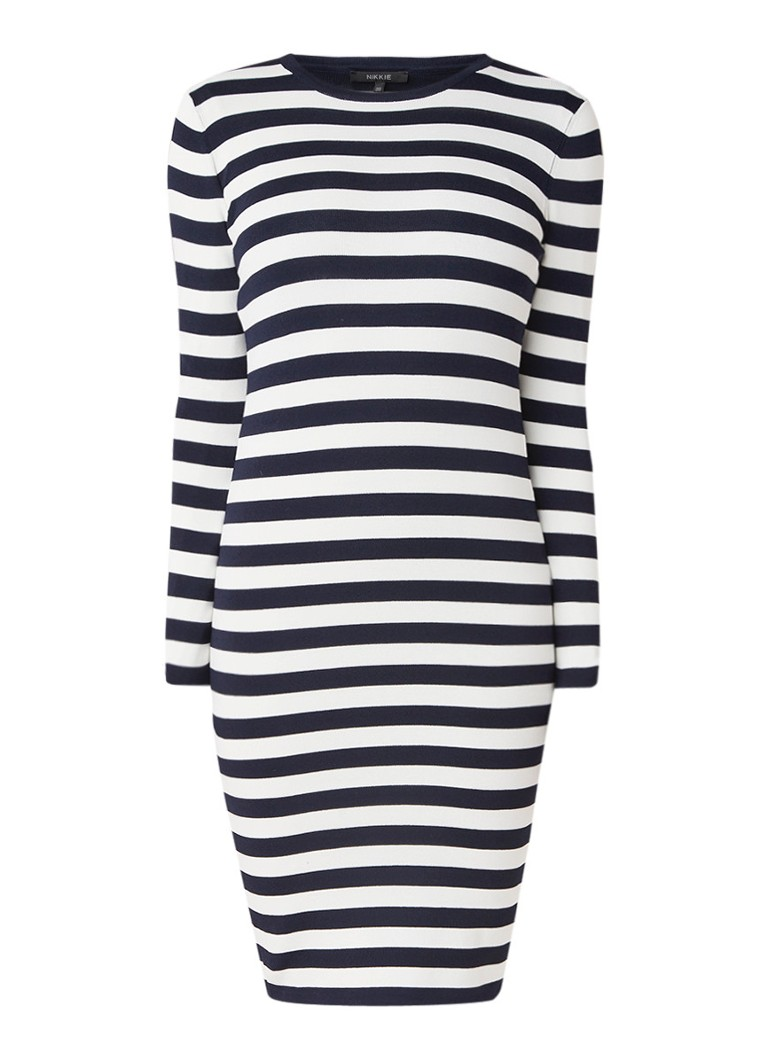 NIKKIE Jolie fijngebreide fitted midi-jurk middenblauw