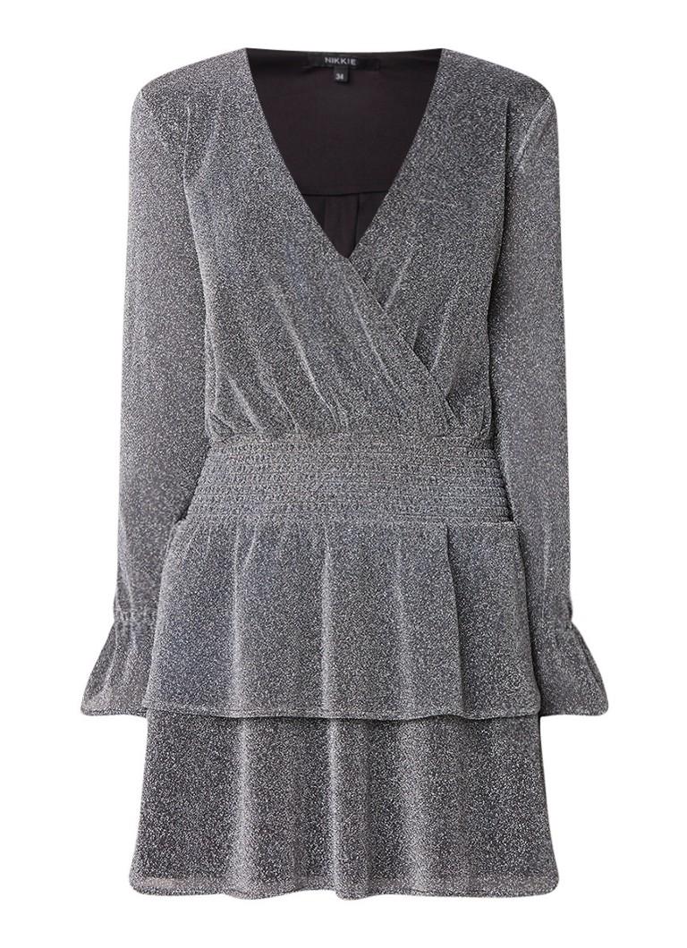 NIKKIE Ruba A-lijn jurk met gesmockt detail en lurex zilver