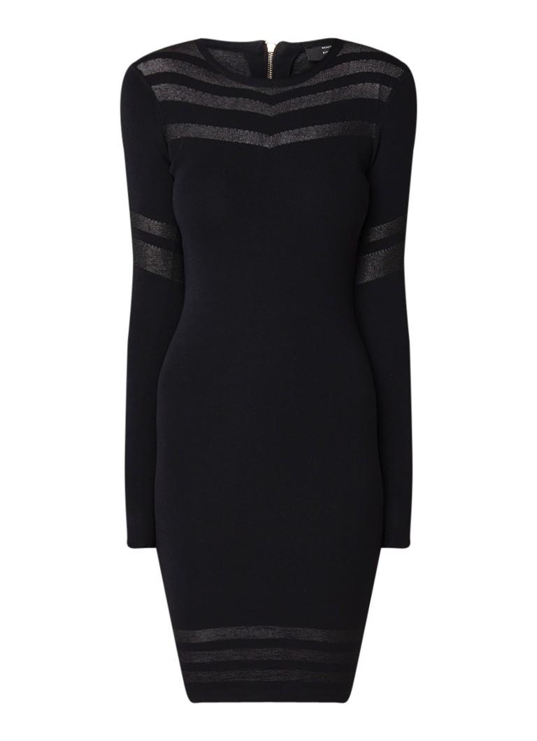 NIKKIE Jazz fijngebreide jurk met lurex streepdessin zwart