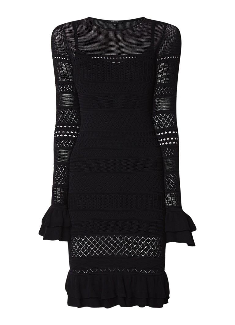NIKKIE Jolisa midi-jurk met opengebreid dessin en volant zwart