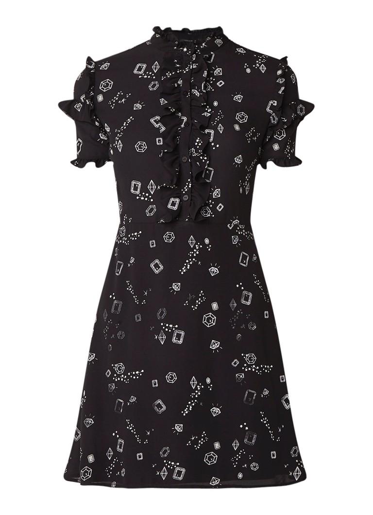 NIKKIE Lilo A-lijn jurk met ruches en dessin zwart