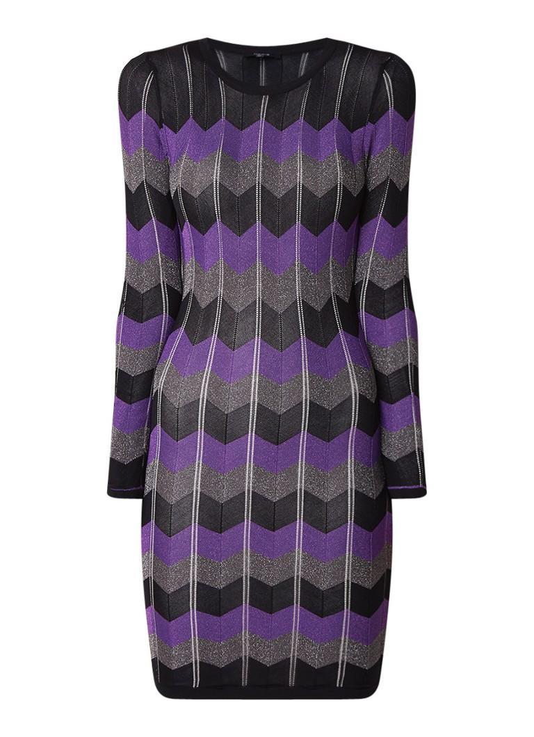 NIKKIE Perla fijngebreide jurk met zigzagdessin paars