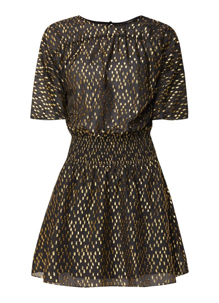 NIKKIE Roxy A-lijn jurk met ingeweven dessin en glansdraad goud
