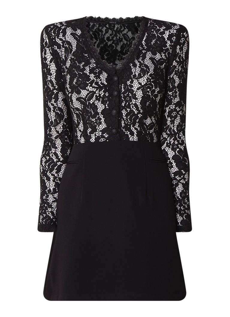 NIKKIE Rumi A-lijn jurk met guipure kant en knopendetail zwart