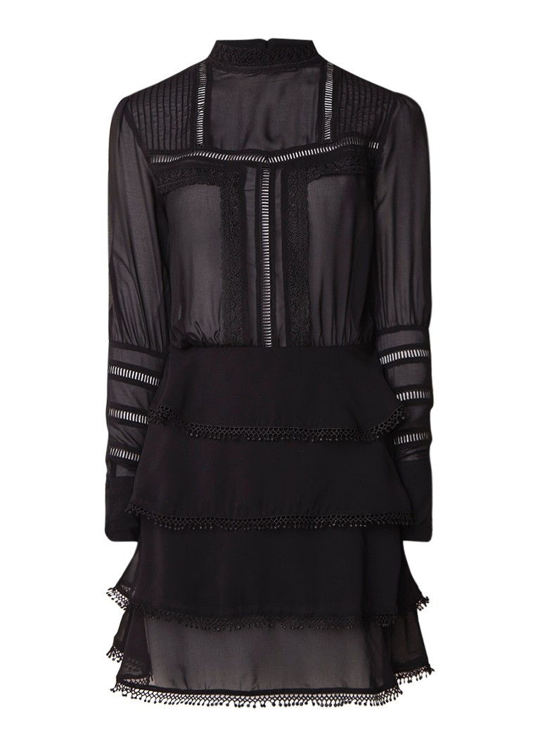NIKKIE Sara semi-transparante A-lijn jurk met details van kant zwart