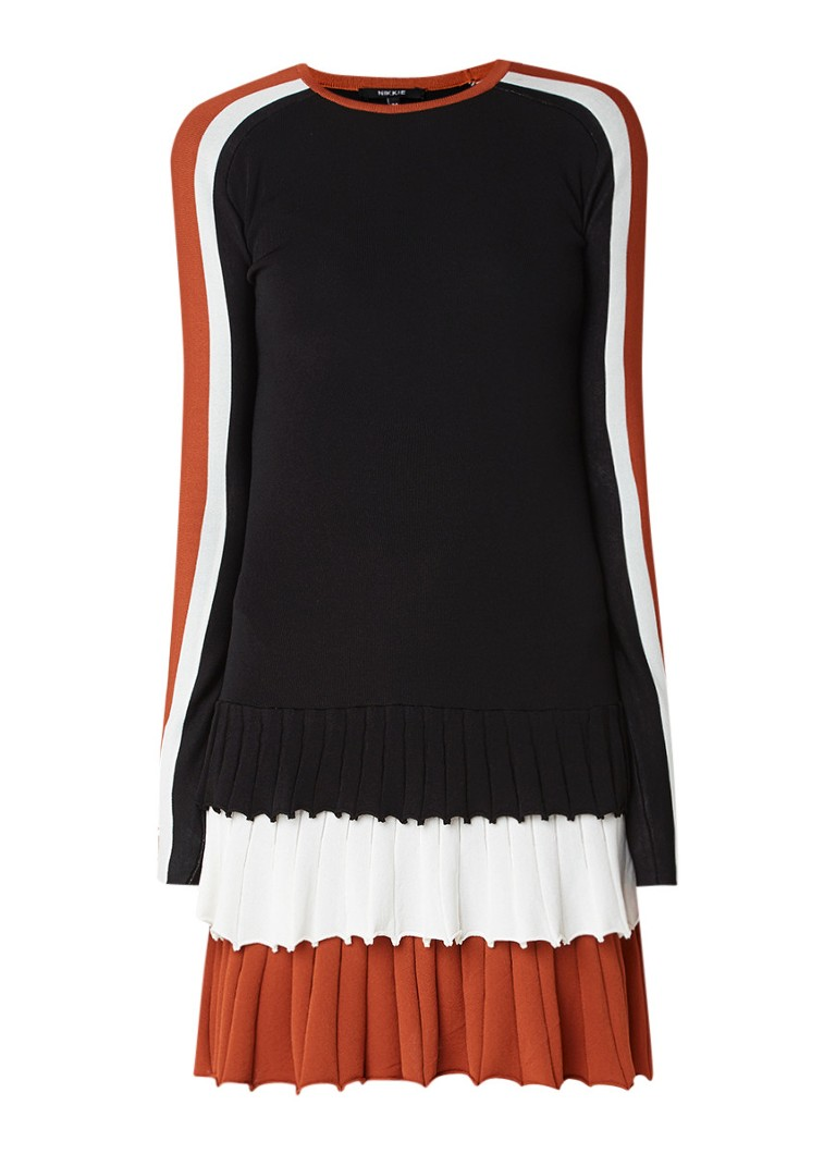 NIKKIE Paris fijngebreide midi-jurk met geplooide inzet zwart