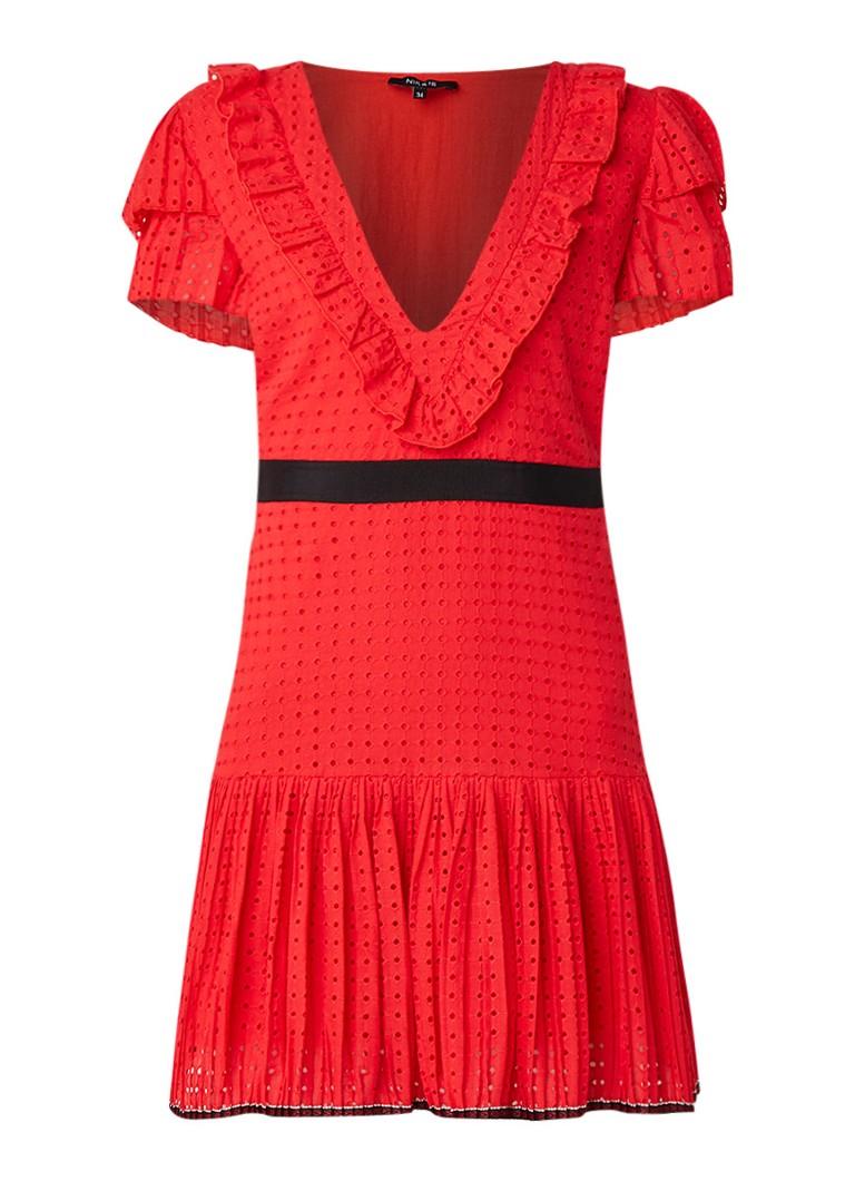 NIKKIE Lyn mini-jurk met broderie en ruches rood